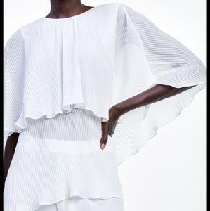 Zara Pleated Cape Style Blouse White 7200/260 Ecru